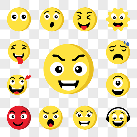 Set Of 13 transparent icons such as Smart emoji, Music Angry Vampire Cyclops In love Nervous web ui editable icon pack, transparency set Illustration