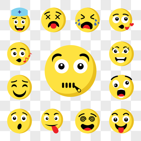 Set Of 13 transparent icons such as Muted emoji, Tongue Hypnotized Surprised Shocked Happy Smart web ui editable icon pack, transparency set Illustration