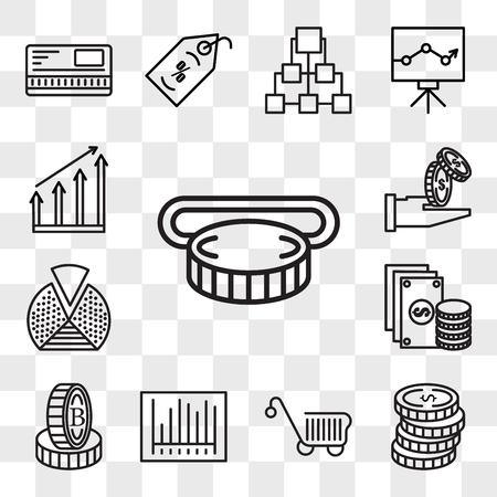 Set Of 13 transparent editable icons such as Insert coin, Coins, Cart, Barcode, Stand, Change, Pie chart, Get money, Graph, web ui icon pack, transparency set