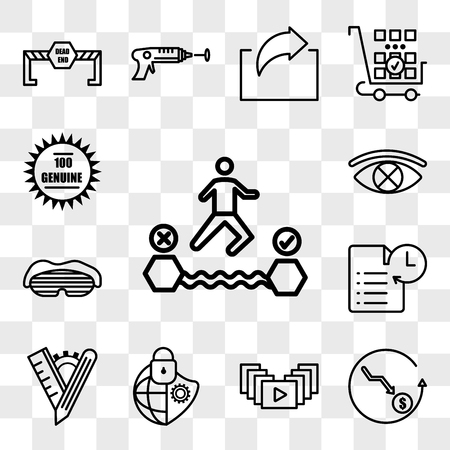 Set Of 13 transparent icons such as attempt, cheaper, video gallery, cybersecurity, tailor made, transaction history, sleep mask, censorship, web ui editable icon pack, transparency set