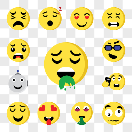 Set Of 13 transparent editable icons such as Sick, Confused, In love, Smile, Selfie, Robot, Cool, Crying, web ui icon pack, transparency set Ilustração