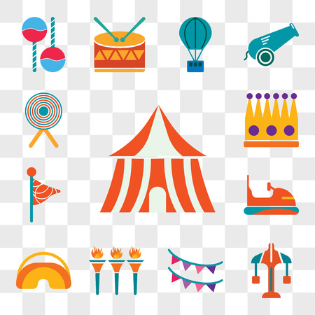 Set Of 13 transparent editable icons such as Tent, Carousel, Garlands, Flambeaux, Eye mask, Bumper, Flag, Crown, Target, web ui icon pack, transparency set Ilustração