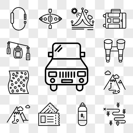 Set Of 13 transparent editable icons such as Car, Hiking, Oxygen tank, Passport, Mountain, Mat, Binoculars, Cable car cabin, web ui icon pack, transparency set
