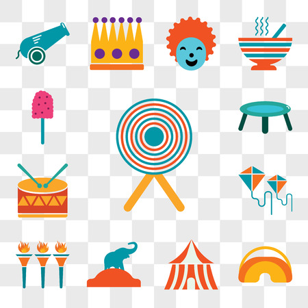 Set Of 13 transparent editable icons such as Target, Eye mask, Tent, Elephant, Flambeaux, Kite, Drum, Trampoline, Cotton candy, web ui icon pack, transparency set