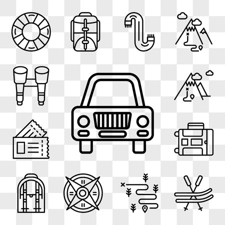 Set Of 13 transparent editable icons such as Car, Ski, Hiking, Windrose, Backpack, Luggage, Passport, Mountain, Binoculars, web ui icon pack, transparency set