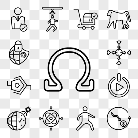 Set Of 13 transparent editable icons such as ohm, cheaper, kung fu, gyroscope, daylight savings, get started, synapse, allocation, cybersecurity, web ui icon pack, transparency set Illustration