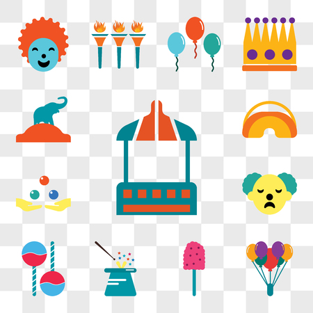 Set Of 13 transparent editable icons such as Stall, Balloon, Cotton candy, Magician, Maracas, Clown, Juggling, Eye mask, Elephant, web ui icon pack, transparency set