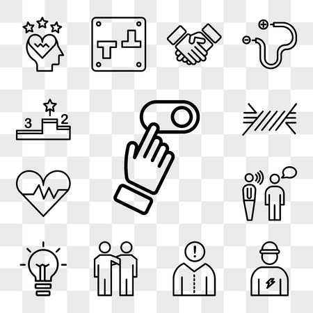 Set Of 13 transparent editable icons such as Switch, Electrician, Think, Friendship, Light bulb, Communication, Heart, Wire, Podium, web ui icon pack, transparency set