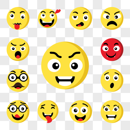 Set Of 13 transparent icons such as Smart emoji, Surprised Tongue Nerd Father Vampire web ui editable icon pack, transparency set