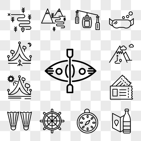 Set Of 13 transparent editable icons such as Kayak, Bottle, Compass, Helm, Flippers, Passport, Travel, Mountain, Camping, web ui icon pack, transparency set Illustration