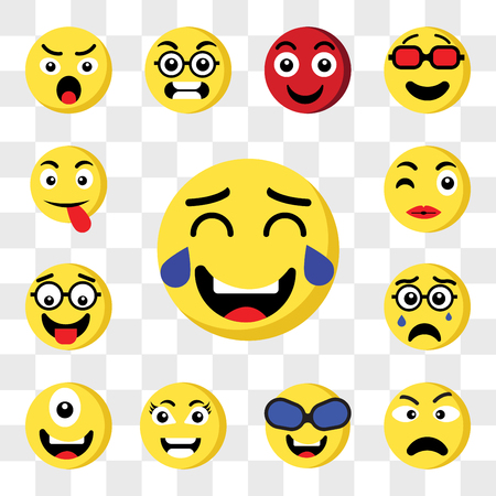 Set Of 13 transparent icons such as Laughing emoji, Angry Nerd Smart Cyclops Crying Kiss web ui editable icon pack, transparency set