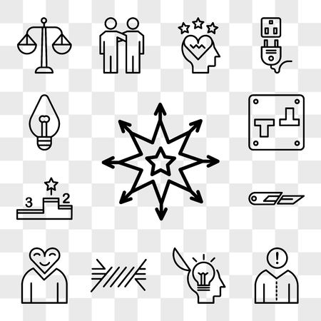 Set Of 13 transparent editable icons such as Star, Think, Idea, Wire, Love, Cutter, Podium, Switch, Light bulb, web ui icon pack, transparency set Illustration