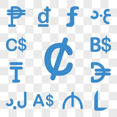 Set Of 13 transparent icons such as Ghana currency, Honduras Azerbaijan Currency Libya Jordan web ui editable icon pack, transparency