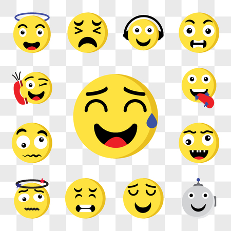 Set Of 13 transparent editable icons such as Sweat, Robot, Smile, Pain, Bang, Ugly, Confused, Hungry, Phone call, web ui icon pack, transparency set