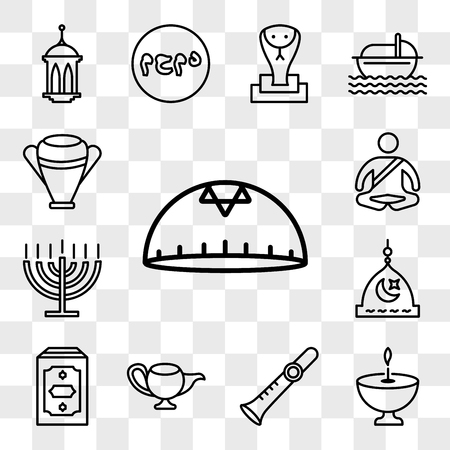 Set Of 13 transparent editable icons such as Kippah, Religion, Shehnai, Genie Lamp, Holy Quran, Medina, Big Menorah, Meditation, Manna Jar, web ui icon pack, transparency set Vectores