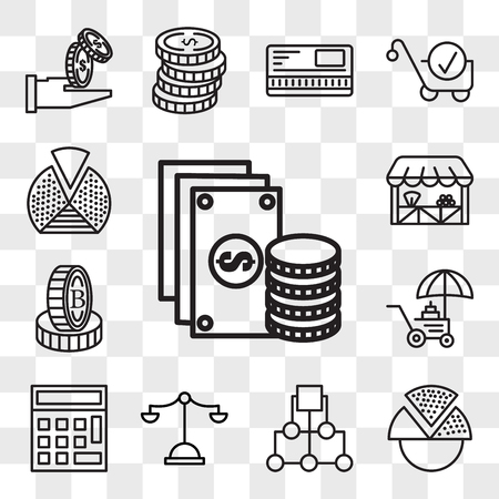 Set Of 13 transparent editable icons such as Change, Pie chart, Diagram, Justice scale, Calculator, Coin, Stand, Grocery, web ui icon pack, transparency set Illustration