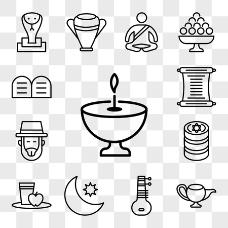 Set Of 13 transparent editable icons such as Religion, Genie Lamp, Sitar, Crescent Moon and Star, Diet, Jewish Coins, Rabbi, Torah, Halakha, web ui icon pack, transparency set