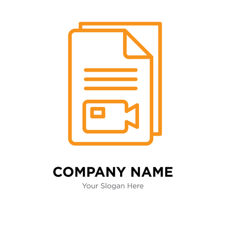 Video file company logo design template, Video file logotype vector icon, business corporative