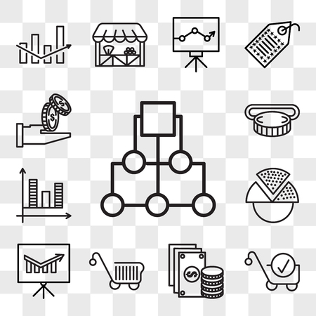 Set Of 13 transparent editable icons such as Diagram, Cart, Change, Presentation, Pie chart, Graph, Insert coin, Get money, web ui icon pack, transparency set
