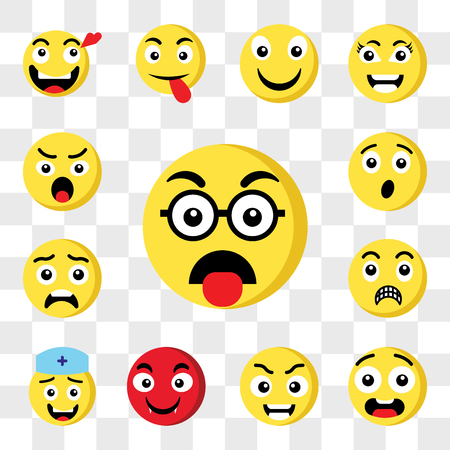 Set Of 13 transparent icons such as Nerd emoji, Ugly Smart Vampire Nurse Shocked Surprised web ui editable icon pack, transparency set