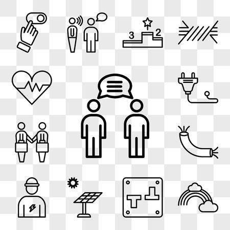 Set Of 13 transparent editable icons such as Communication, Rainbow, Switch, Solar panel, Electrician, Wire, Deal, Plug, Heart, web ui icon pack, transparency set