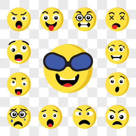 Set Of 13 transparent icons such as Nerd emoji, Sad Angry Surprised Crying Ugly Smart web ui editable icon pack, transparency set