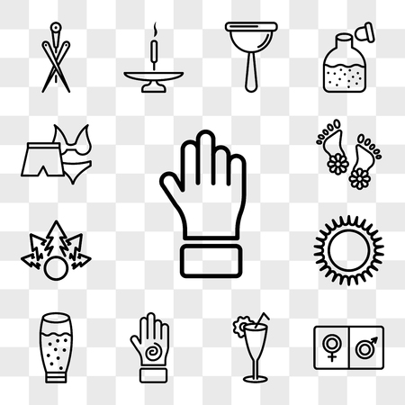 Set Of 13 transparent icons such as Hand of black human, male and female, Cocktail glass, with an spiral, glass juice, Massages ring for spa, web ui editable icon pack, transparency