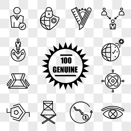 Set Of 13 transparent icons such as 100 genuine, censorship, cheaper, folding chair, synapse, gyroscope, daylight savings, web ui editable icon pack, transparency set Illustration