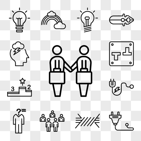Set Of 13 transparent editable icons such as Deal, Plug, Wire, People, Confusion, Podium, Switch, Storm, web ui icon pack, transparency set