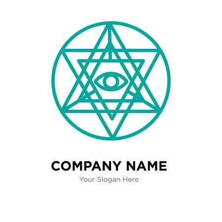 Sri yantra company logo design template, Sri yantra logotype vector icon, business corporative Ilustrace
