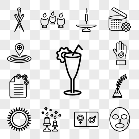 Set Of 13 transparent icons such as Cocktail glass, Mask for relaxation, male and female, scented candle, Massages ring spa, Fern plant on vase, web ui editable icon pack, transparency