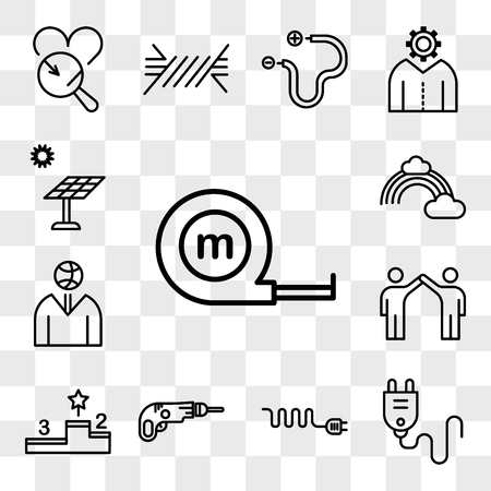 Set Of 13 transparent editable icons such as Measuring tape, Plug, Wire, Driller, Podium, Friendship, Ball, Rainbow, Solar panel, web ui icon pack, transparency set