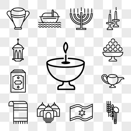 Set Of 13 transparent editable icons such as Religion, Four Species, Israel Flag, Temple, Tallit, Genie Lamp, Holy Quran, Laddu, Islamic Lantern, web ui icon pack, transparency set