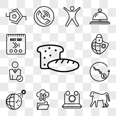 Set Of 13 transparent editable icons such as bakery, baboon, marketing automation, ftp, daylight savings, cheaper, user, cybersecurity, next day, web ui icon pack, transparency set Ilustração