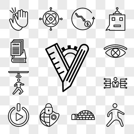 Set Of 13 transparent editable icons such as tailor made, kung fu, igloo, cybersecurity, get started, delegate, motion capture, censorship, product catalog, web ui icon pack, transparency set