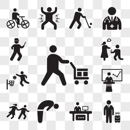 Set Of 13 transparent icons such as Worker loading boxes, Traveler with a suitcase, Man in office desk computer, Backbend, Couple Running, web ui editable icon pack, transparency
