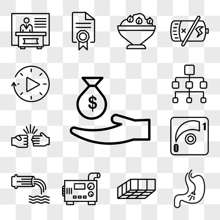 Set Of 13 transparent editable icons such as subsidy, endoscopy, mould, diesel generator, wastewater, dimmer, rock paper scissors, org chart, downtime, web ui icon pack, transparency set Illustration