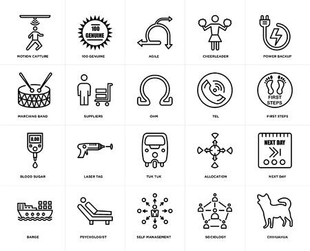 Ensemble de 20 icônes telles que chihuahua, sociologie, autogestion, psychologue, barge, alimentation de secours, tel, tuk tuk, glycémie, fournisseurs, agile, pack d'icônes modifiables de l'interface utilisateur Web, pixel parfait