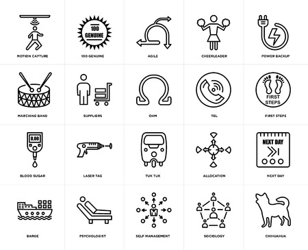 Set Of 20 icons such as chihuahua, sociology, self management, psychologist, barge, power backup, tel, tuk tuk, blood sugar, suppliers, agile, web UI editable icon pack, pixel perfect