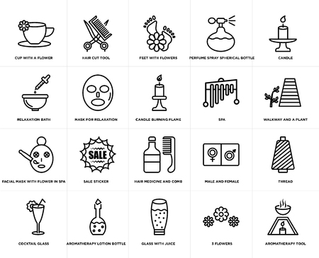 Set Of 20 simple editable icons such as Hair cut tool, 3 flowers, candle, Aromatherapy lotion bottle, Cocktail glass, thread, Mask for relaxation, web UI icon pack, pixel perfect Illustration