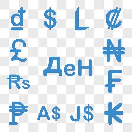 Satz von 13 transparenten Symbolen wie Mazedonien Währung, Laos Jamaika Währung Mexiko Schweiz Web ui bearbeitbares Symbolpaket, Transparenz