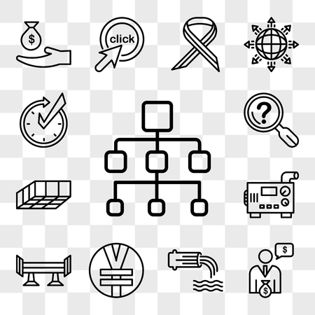 Set Of 13 transparent editable icons such as org chart, cfo, wastewater, rmb, spoiler, diesel generator, mould, problem statement, realtime, web ui icon pack, transparency set