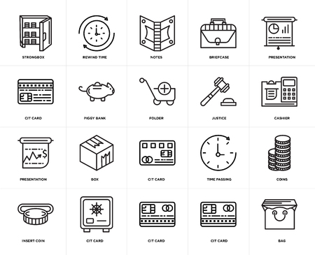 Set Of 20 icons such as Bag, Cit card, Insert coin, Presentation, Justice, Piggy bank, Notes, web UI editable icon pack, pixel perfect