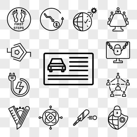 Satz von 13 transparenten Symbolen wie Führerschein, Cybersicherheit, Cricketschläger, Gyroskop, maßgeschneidert, Soziologie, Notstromversorgung, Ransomware, im Internet bearbeitbares Symbolpaket, Transparenzsatz