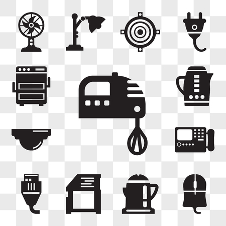 Set Of 13 transparent editable icons such as Kitchen pack, Mouse clicker, Boiling, Video games, Turned off, Printed, Device, Light bulbs, web ui icon transparency set