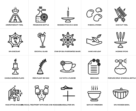 Set Of 20 simple editable icons such as Hair cut tool, Bath of immersion, Sandals for spa, Incense sticks, web UI icon pack, pixel perfect