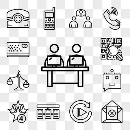 Set Of 13 transparent editable icons such as coworking space, unsubscribe, replay, server stack, cod, chat bot, unbalanced scale, qr scanner, punch card, web ui icon pack, transparency set