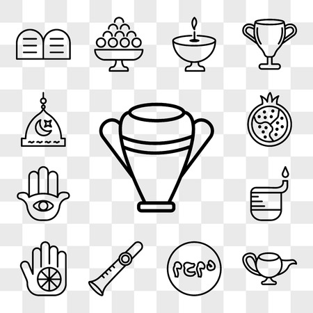 Set Of 13 transparent editable icons such as Manna Jar, Genie Lamp, Muhammad Word, Shehnai, Karma, Dipa, Hamsa Hand, Half Pomegranate, Medina, web ui icon pack, transparency set