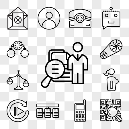 Set Of 13 transparent editable icons such as job fair, qr scanner, handphone, server stack, replay, naked lady, unbalanced scale, flywheel, bail, web ui icon pack, transparency set