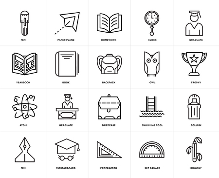 Set Of 20 icons such as Biology, square, Protractor, Mortarboard, Pen, Graduate, Owl, Briefcase, Atom, Book, Homework, web UI editable icon pack, pixel perfect Illustration